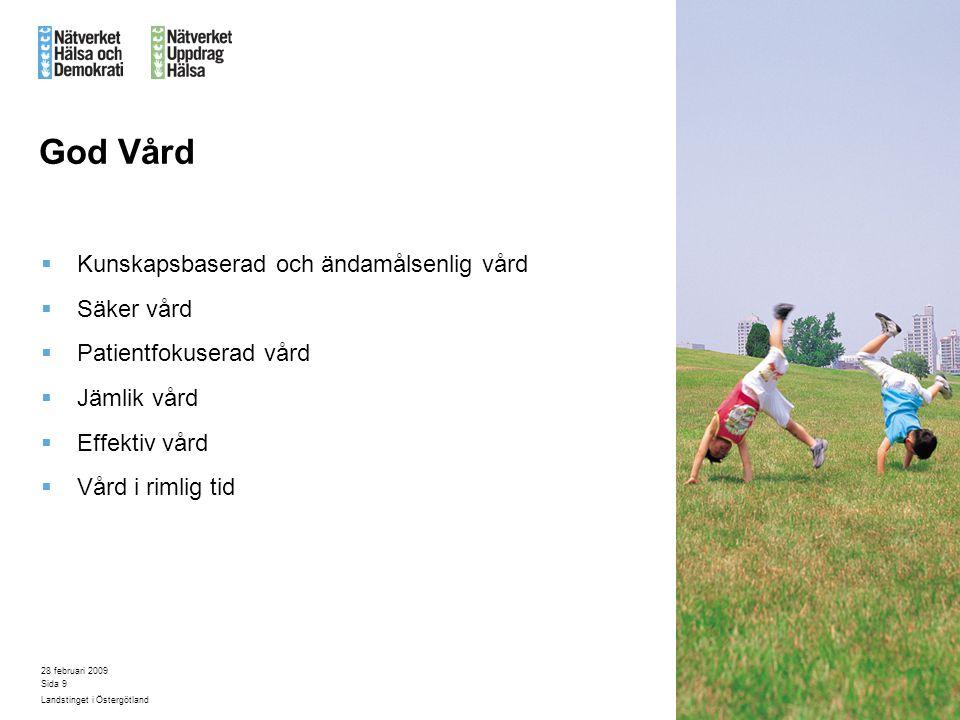 28 februari 2009 Landstinget i Östergötland Sida 9 God Vård  Kunskapsbaserad och ändamålsenlig vård  Säker vård  Patientfokuserad vård  Jämlik vår
