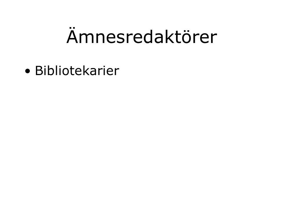 Ämnesredaktörer Bibliotekarier