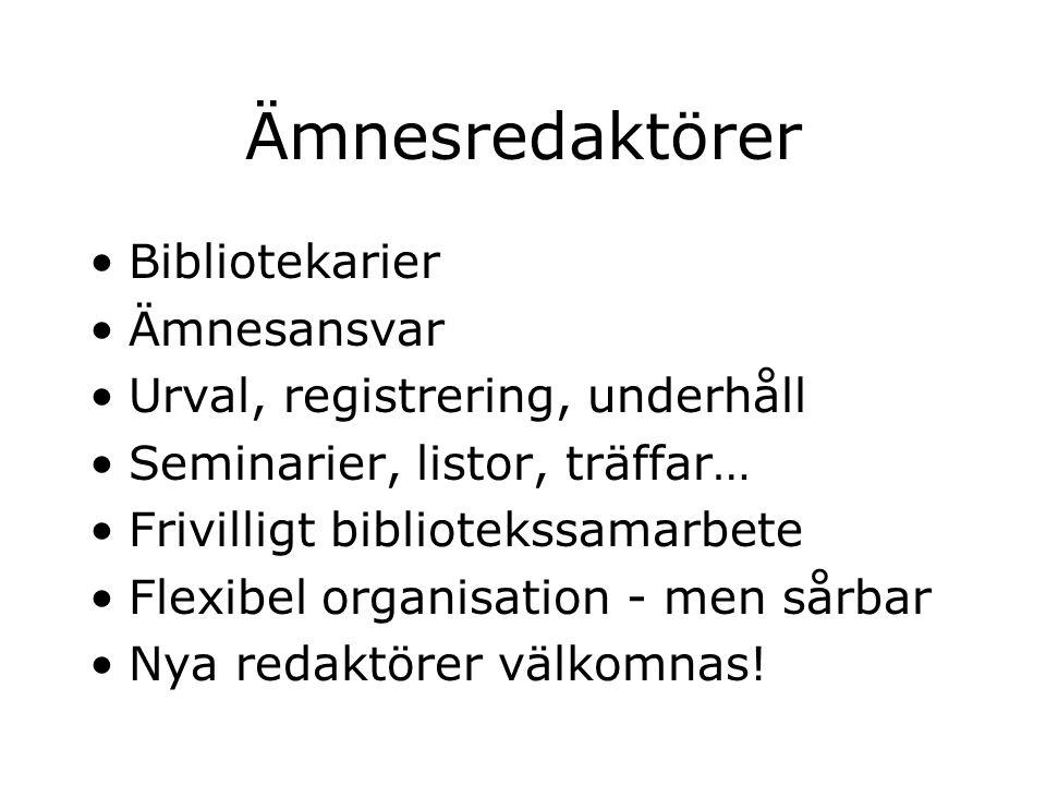 Ämnesredaktörer Bibliotekarier Ämnesansvar Urval, registrering, underhåll Seminarier, listor, träffar… Frivilligt bibliotekssamarbete Flexibel organisation - men sårbar Nya redaktörer välkomnas!