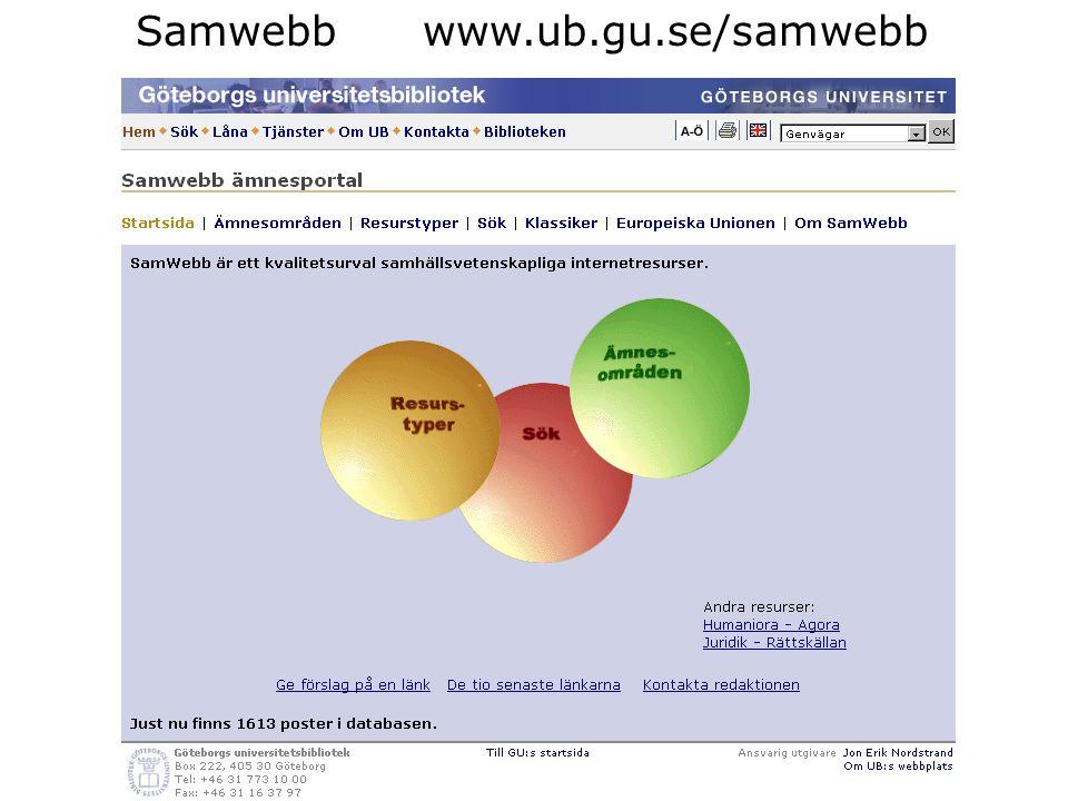 Samwebb www.ub.gu.se/samwebb