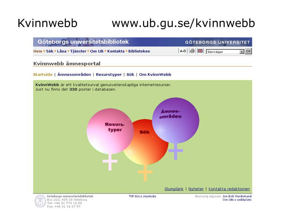 Kvinnwebb www.ub.gu.se/kvinnwebb