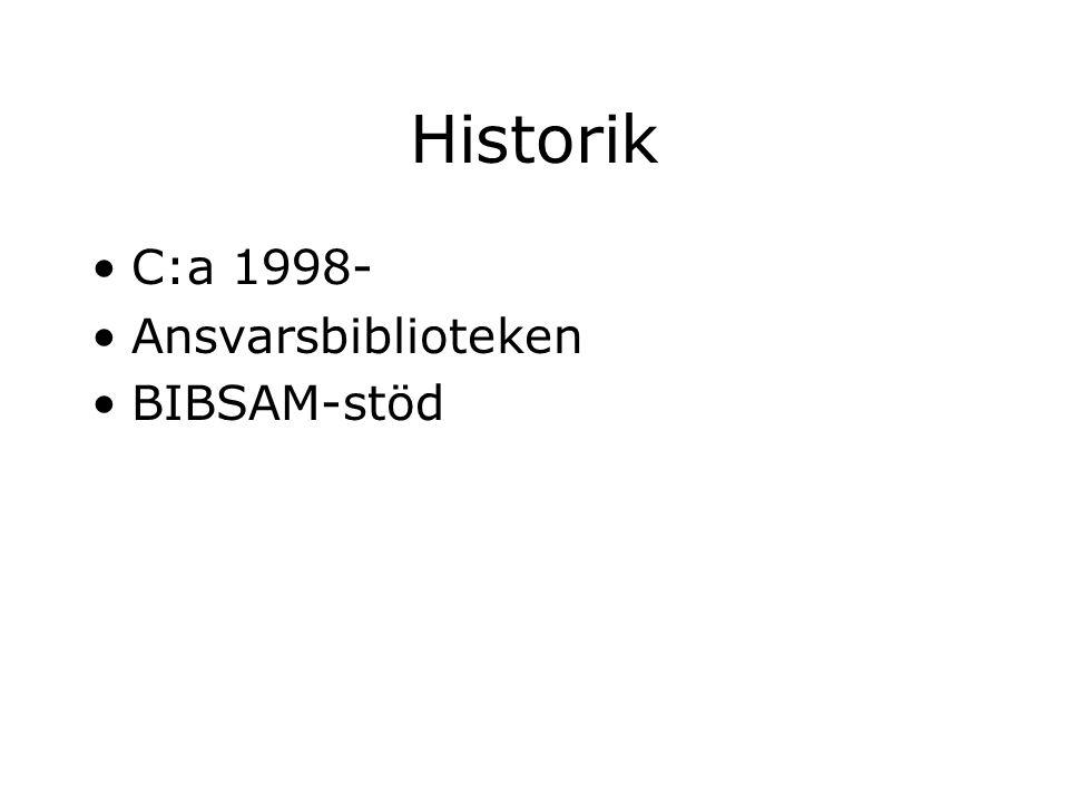 Historik C:a 1998- Ansvarsbiblioteken BIBSAM-stöd