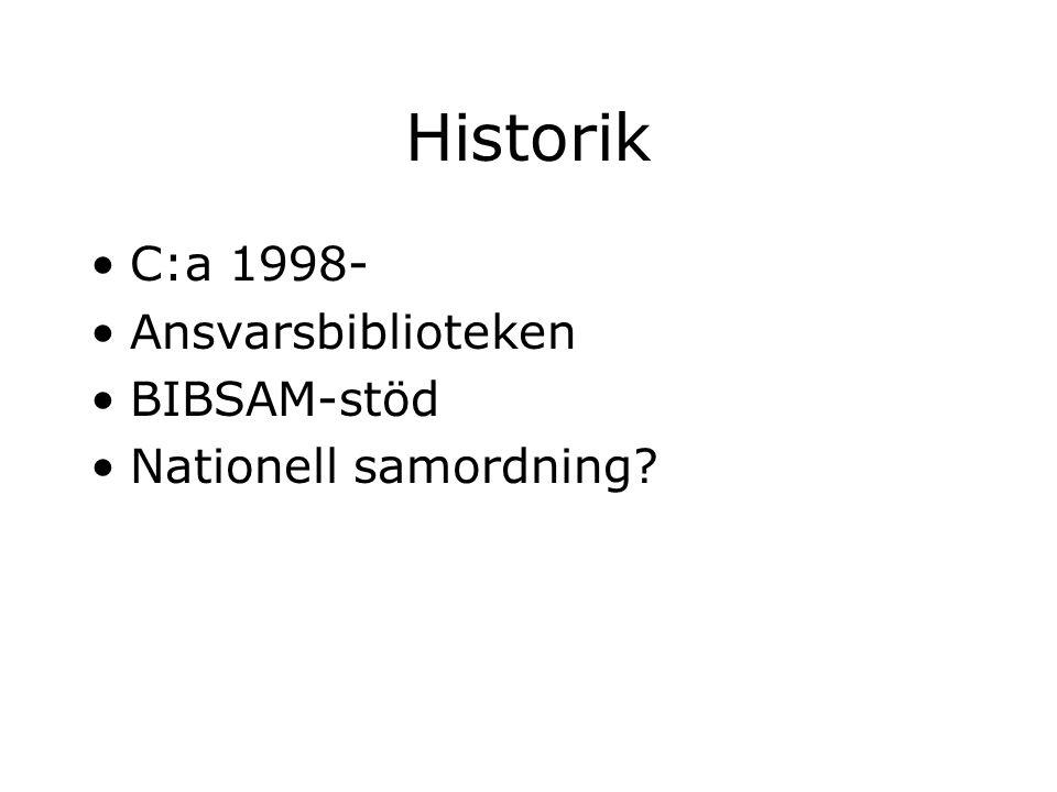 Historik C:a 1998- Ansvarsbiblioteken BIBSAM-stöd Nationell samordning?