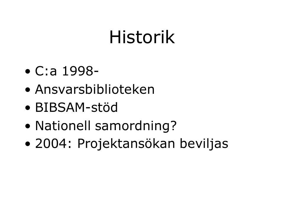 Historik C:a 1998- Ansvarsbiblioteken BIBSAM-stöd Nationell samordning? 2004: Projektansökan beviljas