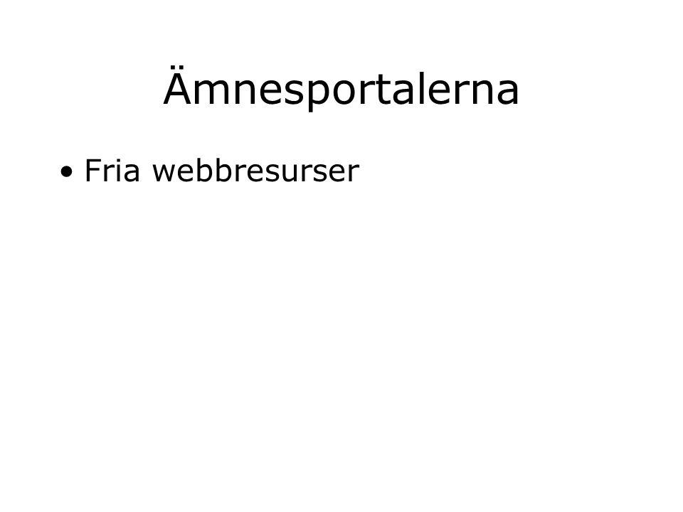 Ämnesportalerna Fria webbresurser Ämnesträd