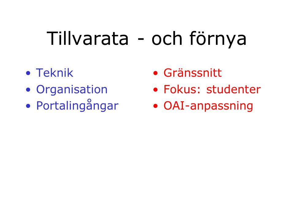 Tillvarata - och förnya Teknik Organisation Portalingångar Gränssnitt Fokus: studenter OAI-anpassning