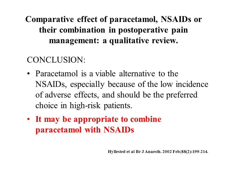 Comparative effect of paracetamol, NSAIDs or their combination in postoperative pain management: a qualitative review. CONCLUSION: Paracetamol is a vi