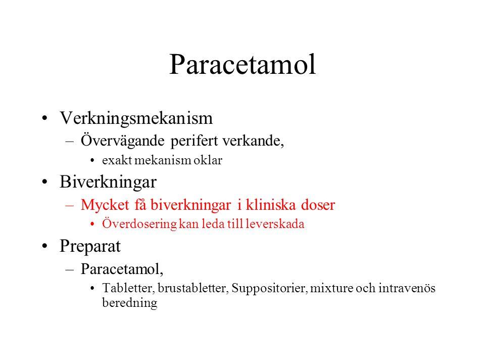 Paracetamol Verkningsmekanism –Övervägande perifert verkande, exakt mekanism oklar Biverkningar –Mycket få biverkningar i kliniska doser Överdosering kan leda till leverskada Preparat –Paracetamol, Tabletter, brustabletter, Suppositorier, mixture och intravenös beredning