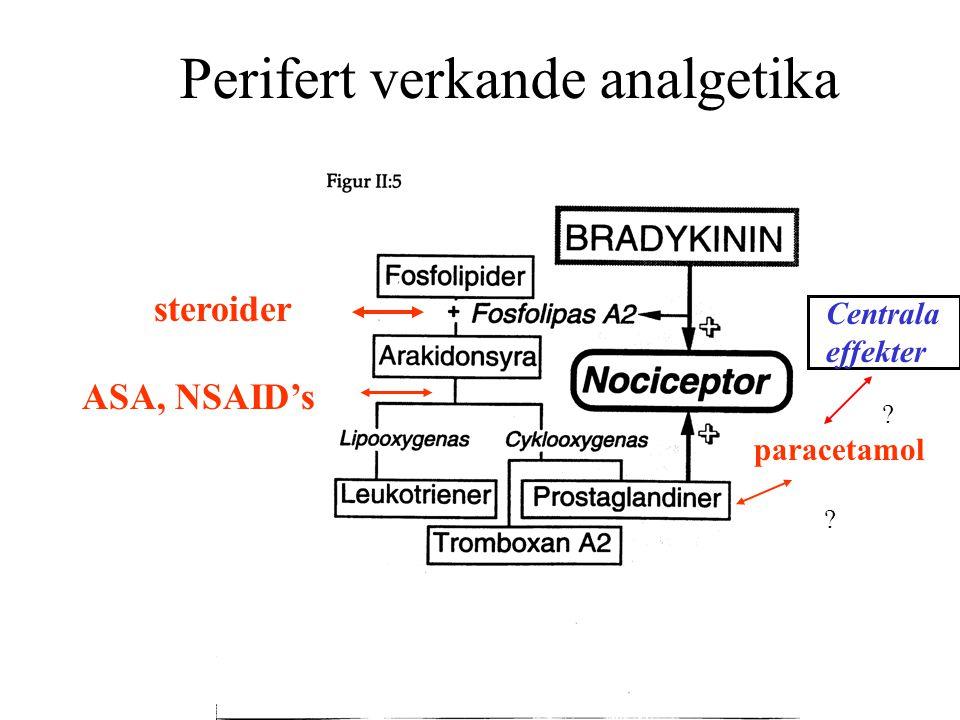 Perifert verkande analgetika steroider ASA, NSAID's paracetamol ? Centrala effekter ?