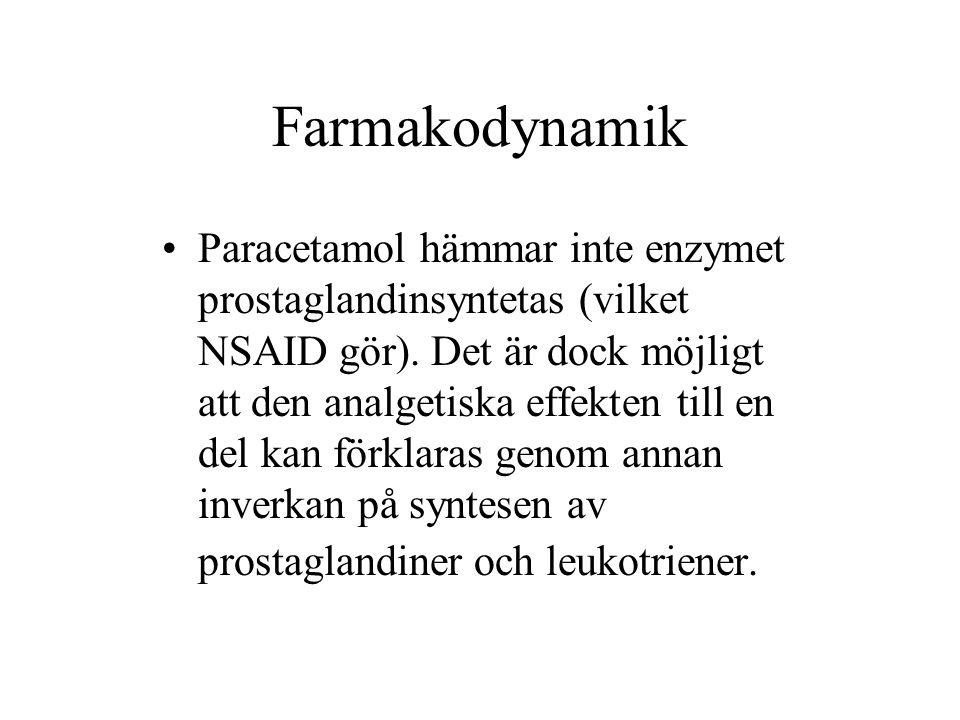 Farmakodynamik Paracetamol hämmar inte enzymet prostaglandinsyntetas (vilket NSAID gör).