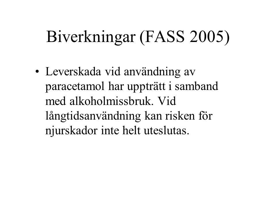 Biverkningar (FASS 2005) Leverskada vid användning av paracetamol har uppträtt i samband med alkoholmissbruk.