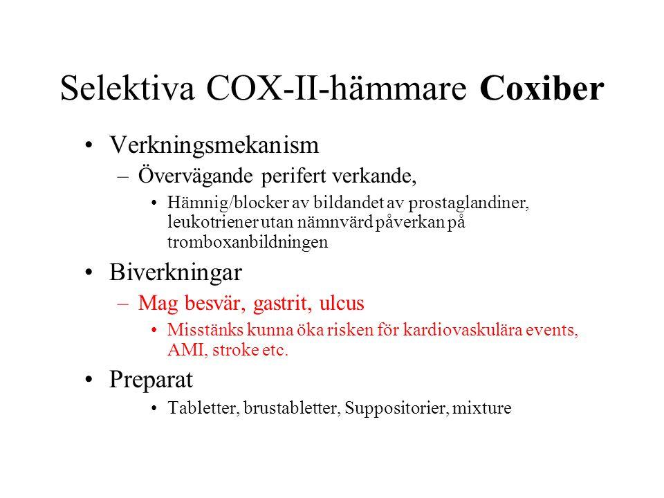 Selektiva COX-II-hämmare Coxiber Verkningsmekanism –Övervägande perifert verkande, Hämnig/blocker av bildandet av prostaglandiner, leukotriener utan nämnvärd påverkan på tromboxanbildningen Biverkningar –Mag besvär, gastrit, ulcus Misstänks kunna öka risken för kardiovaskulära events, AMI, stroke etc.