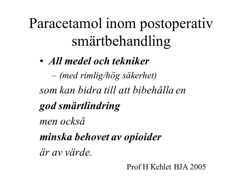 Paracetamol inom postoperativ smärtbehandling All medel och tekniker –(med rimlig/hög säkerhet) som kan bidra till att bibehålla en god smärtlindring men också minska behovet av opioider är av värde.