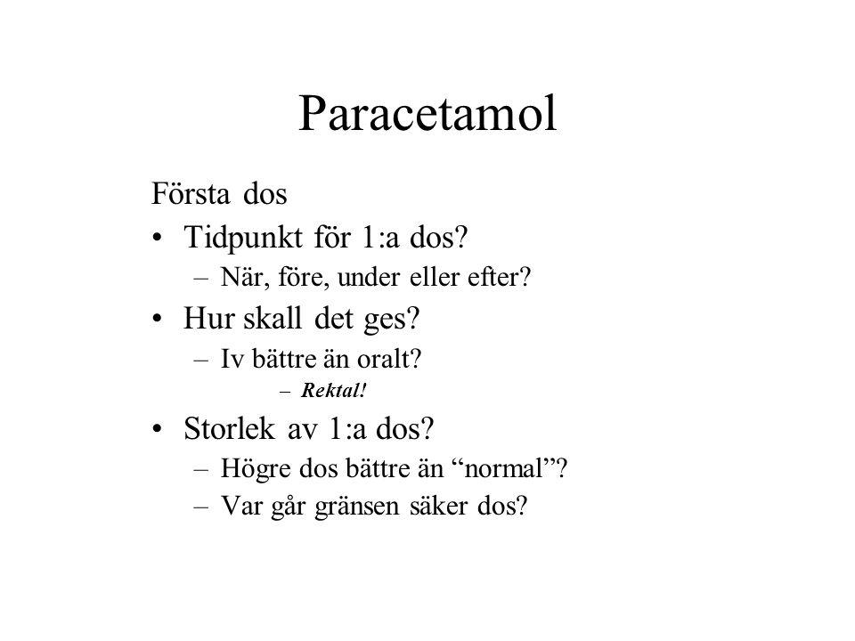 Paracetamol Första dos Tidpunkt för 1:a dos.–När, före, under eller efter.