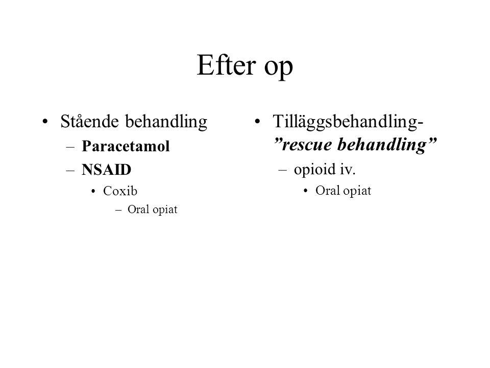 Efter op Stående behandling –Paracetamol –NSAID Coxib –Oral opiat Tilläggsbehandling- rescue behandling –opioid iv.