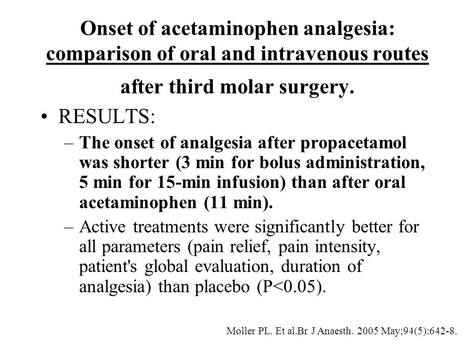 Onset of acetaminophen analgesia: comparison of oral and intravenous routes after third molar surgery. RESULTS: –The onset of analgesia after propacet