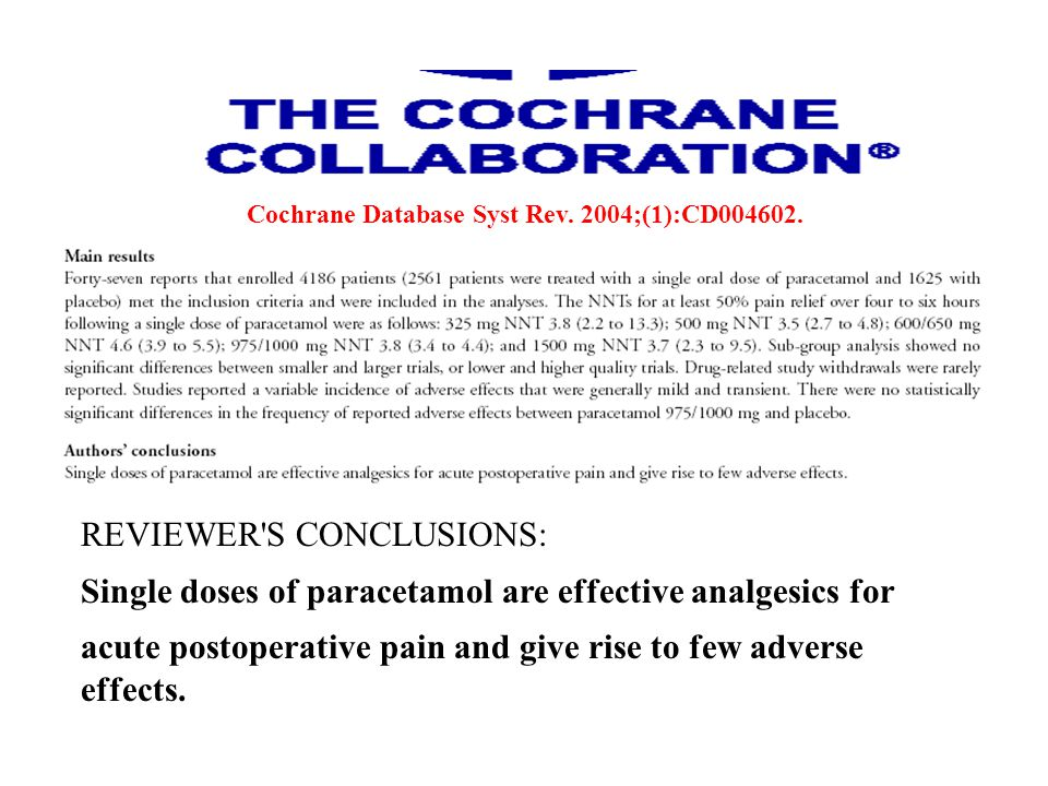 REVIEWER'S CONCLUSIONS: Single doses of paracetamol are effective analgesics for acute postoperative pain and give rise to few adverse effects. Cochra