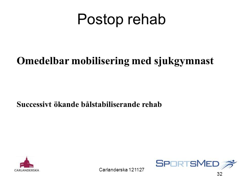 Carlanderska 121127 32 Postop rehab Omedelbar mobilisering med sjukgymnast Successivt ökande bålstabiliserande rehab