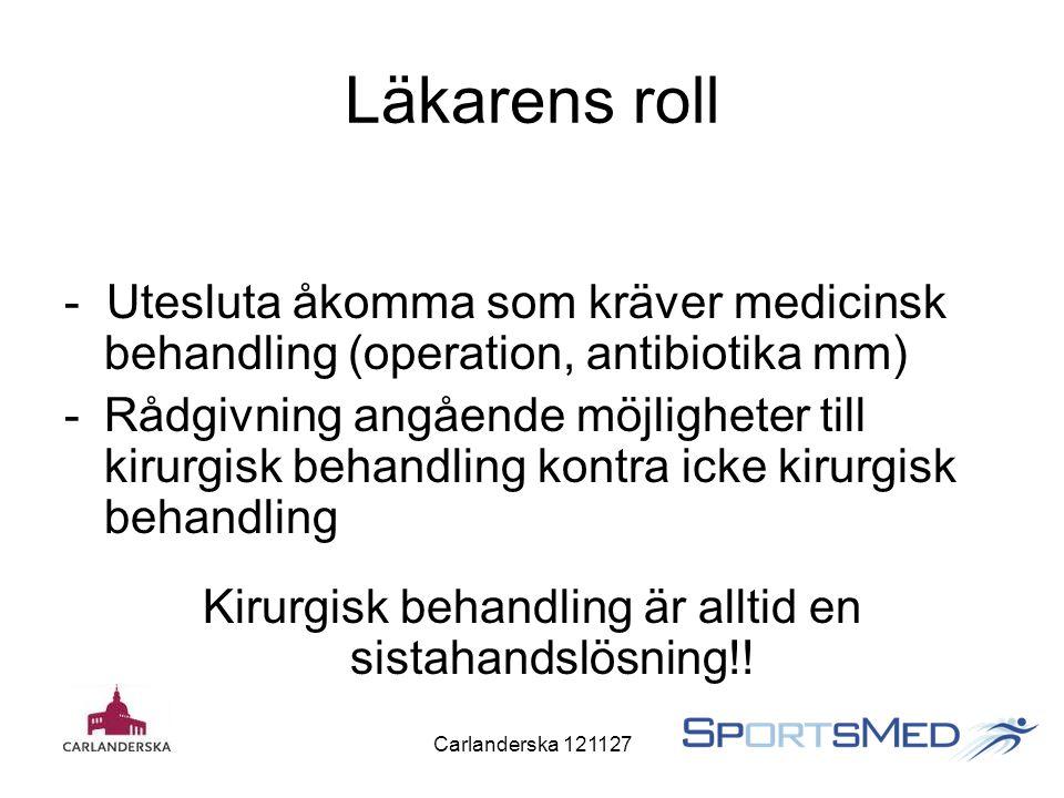 Carlanderska 121127 Läkarens roll - Utesluta åkomma som kräver medicinsk behandling (operation, antibiotika mm) -Rådgivning angående möjligheter till