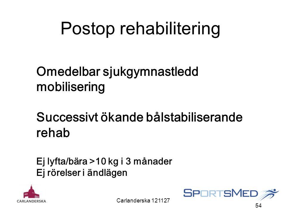 Carlanderska 121127 54 Postop rehabilitering Omedelbar sjukgymnastledd mobilisering Successivt ökande bålstabiliserande rehab Ej lyfta/bära >10 kg i 3