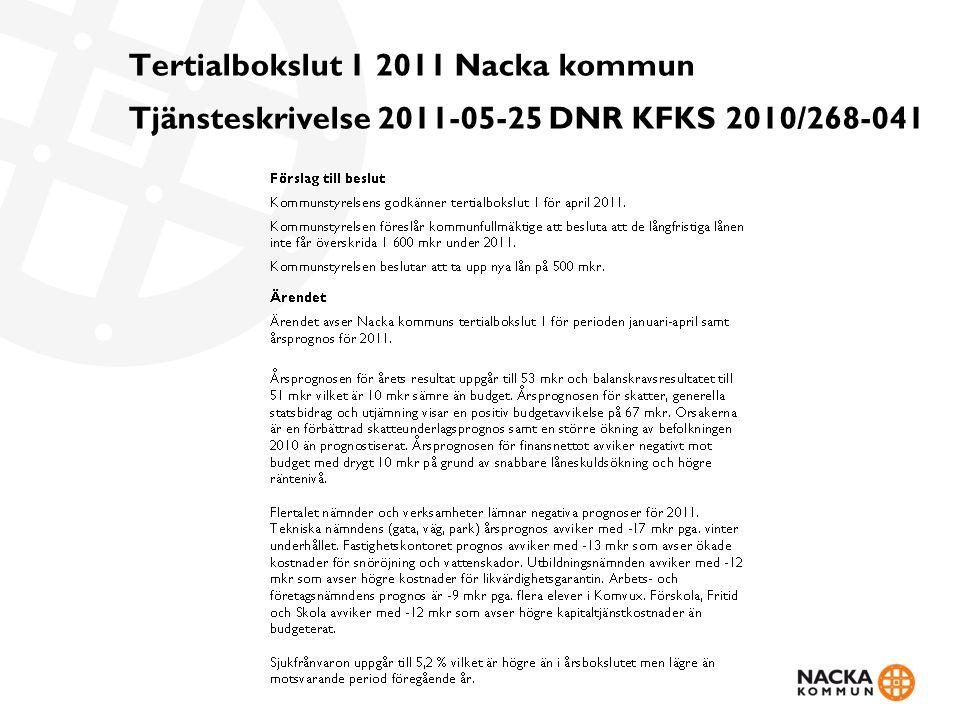 Tertialbokslut 1 2011 Nacka kommun Tjänsteskrivelse 2011-05-25 DNR KFKS 2010/268-041