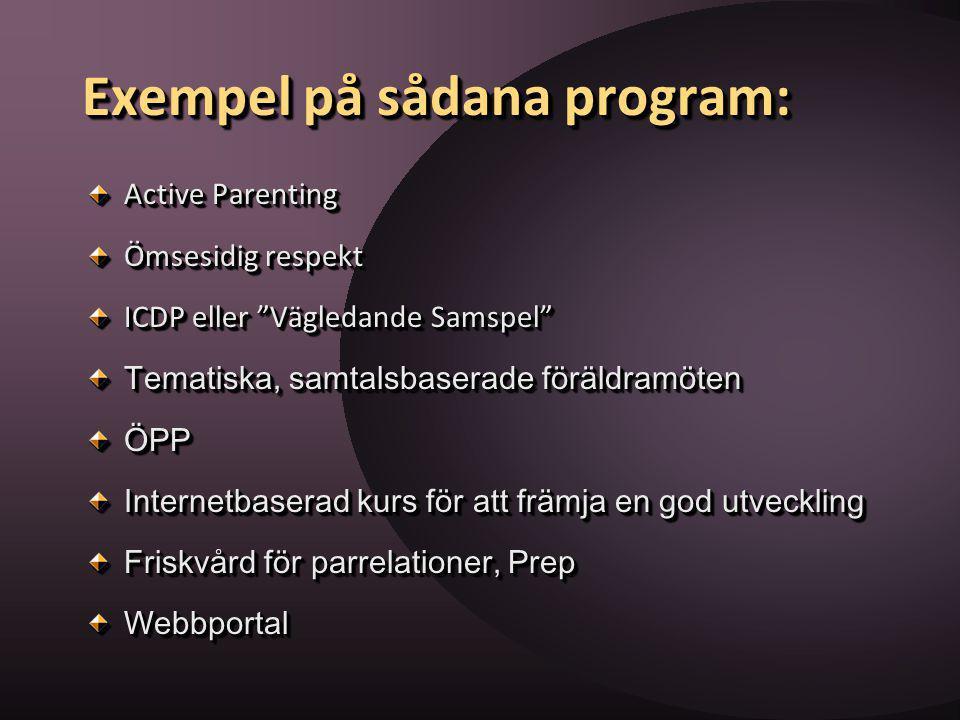 """Exempel på sådana program: Active Parenting Ömsesidig respekt ICDP eller """"Vägledande Samspel"""" Tematiska, samtalsbaserade föräldramöten ÖPP Internetbas"""