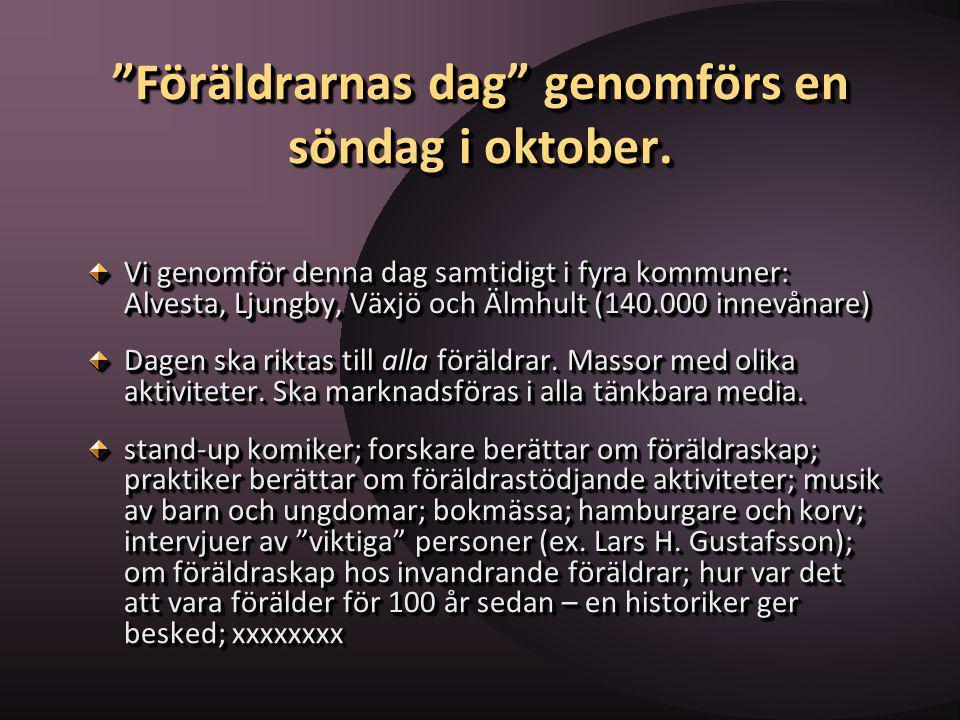 """""""Föräldrarnas dag"""" genomförs en söndag i oktober. Vi genomför denna dag samtidigt i fyra kommuner: Alvesta, Ljungby, Växjö och Älmhult (140.000 innevå"""