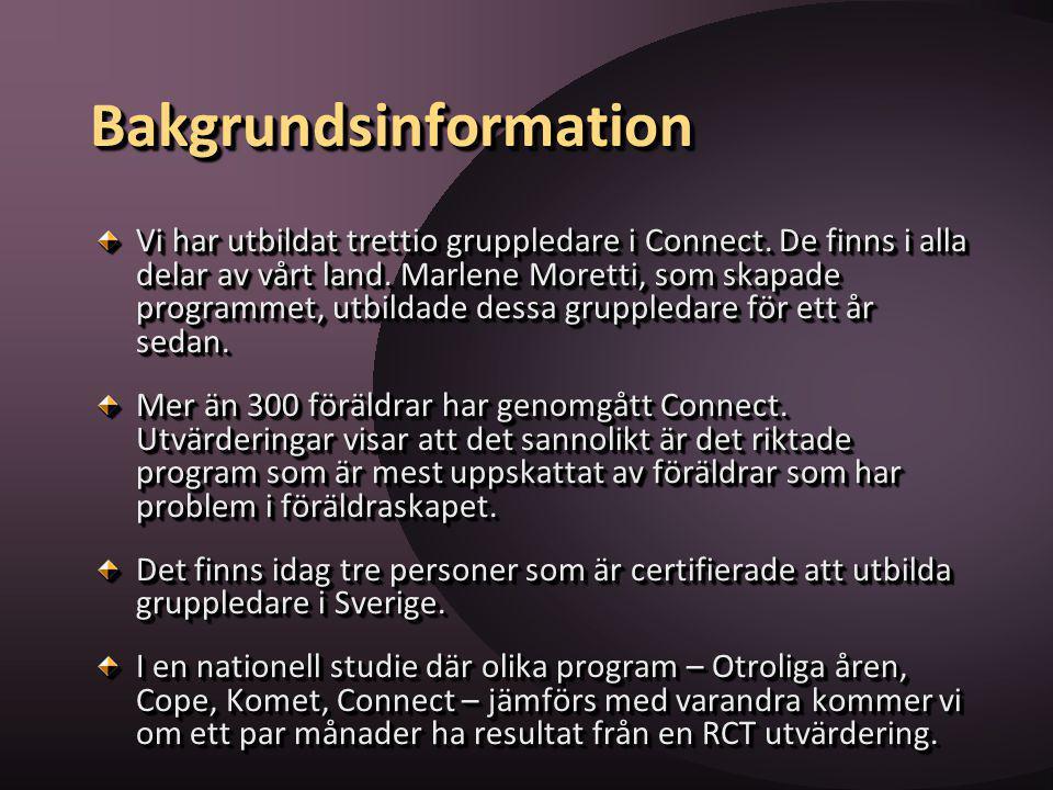 BakgrundsinformationBakgrundsinformation Vi har utbildat trettio gruppledare i Connect. De finns i alla delar av vårt land. Marlene Moretti, som skapa