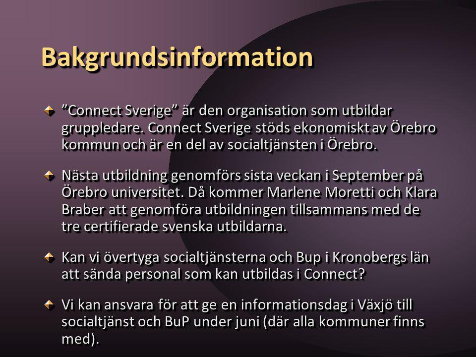"""BakgrundsinformationBakgrundsinformation """"Connect Sverige"""" är den organisation som utbildar gruppledare. Connect Sverige stöds ekonomiskt av Örebro ko"""