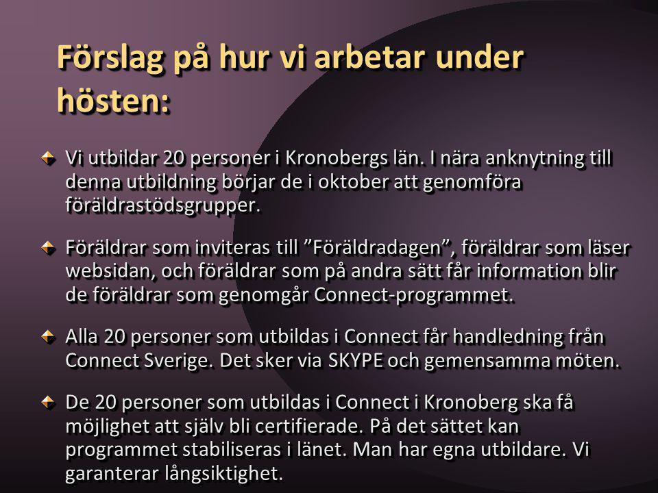 Förslag på hur vi arbetar under hösten: Vi utbildar 20 personer i Kronobergs län. I nära anknytning till denna utbildning börjar de i oktober att geno