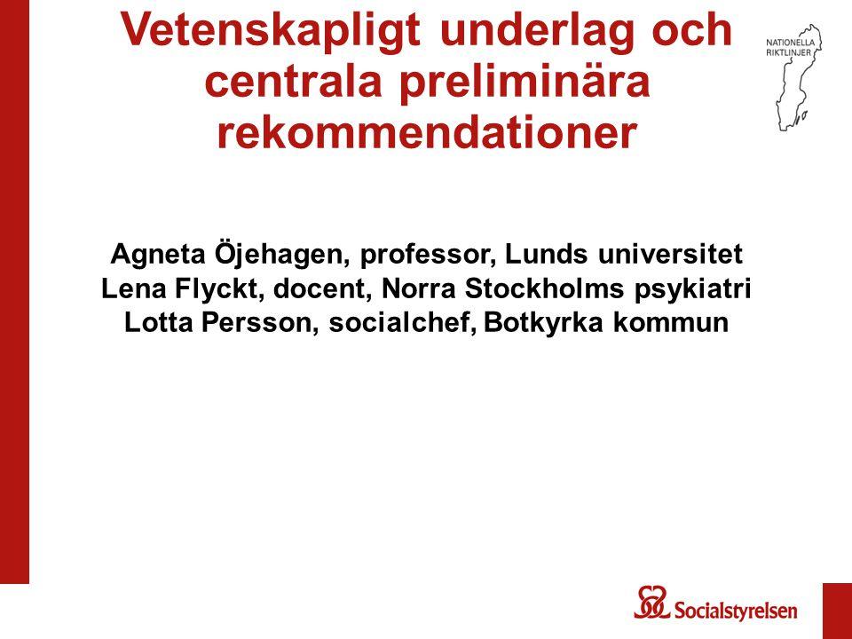 Vetenskapligt underlag och centrala preliminära rekommendationer Agneta Öjehagen, professor, Lunds universitet Lena Flyckt, docent, Norra Stockholms p