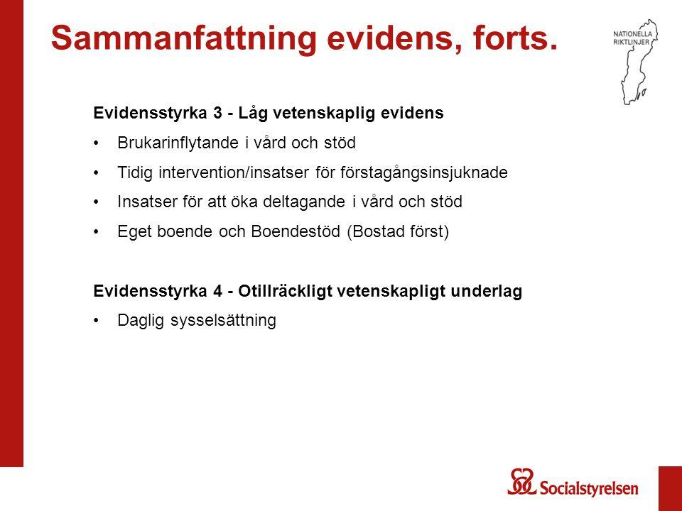 Sammanfattning evidens, forts. Evidensstyrka 3 - Låg vetenskaplig evidens Brukarinflytande i vård och stöd Tidig intervention/insatser för förstagångs