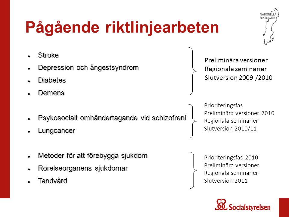Preliminära rekommendationer: Sysselsättning Socialtjänsten bör - erbjuda dagverksamhet som är anpassad och har individuell målsättning och uppföljning till personer med schizofreni och schizofreniliknande tillstånd (prioritet 3)