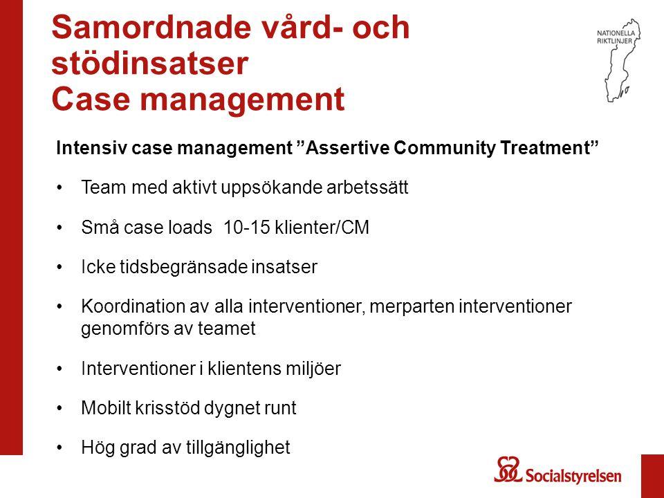 """Samordnade vård- och stödinsatser Case management Intensiv case management """"Assertive Community Treatment"""" Team med aktivt uppsökande arbetssätt Små c"""