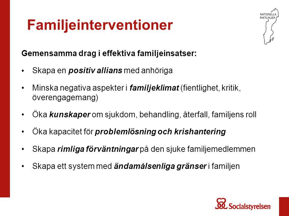 Familjeinterventioner Gemensamma drag i effektiva familjeinsatser: Skapa en positiv allians med anhöriga Minska negativa aspekter i familjeklimat (fie