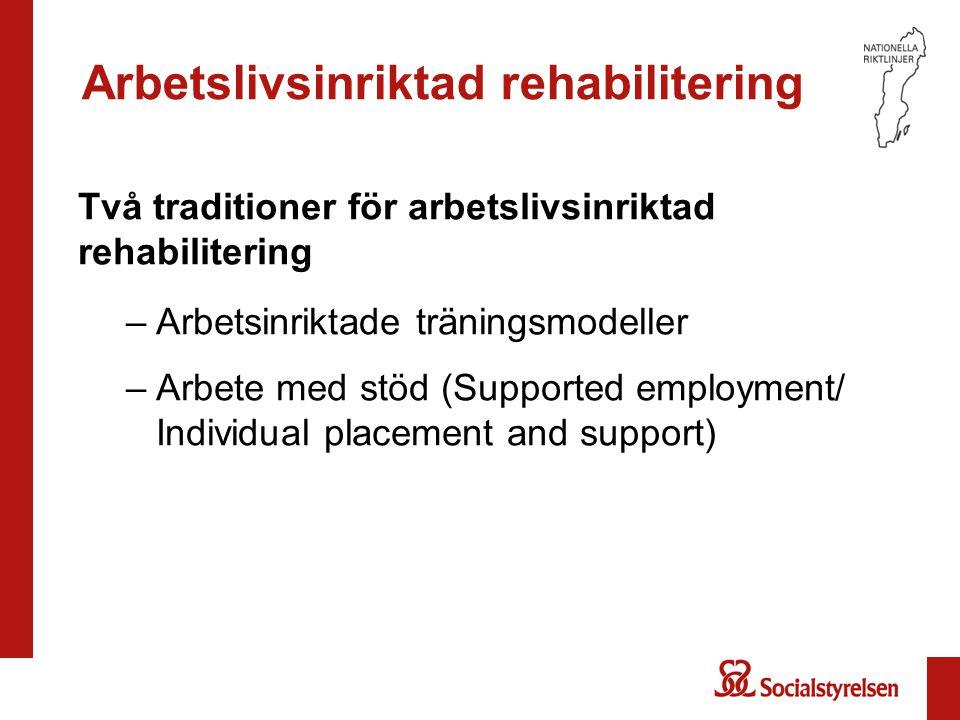 Arbetslivsinriktad rehabilitering Två traditioner för arbetslivsinriktad rehabilitering –Arbetsinriktade träningsmodeller –Arbete med stöd (Supported