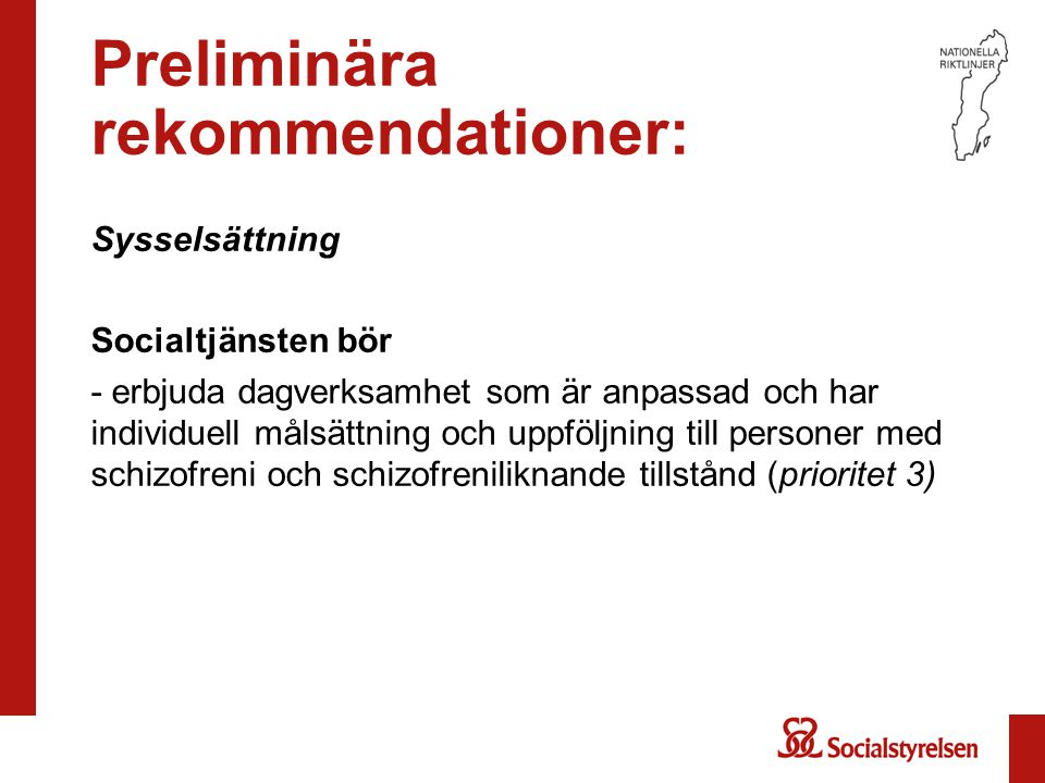 Preliminära rekommendationer: Sysselsättning Socialtjänsten bör - erbjuda dagverksamhet som är anpassad och har individuell målsättning och uppföljnin