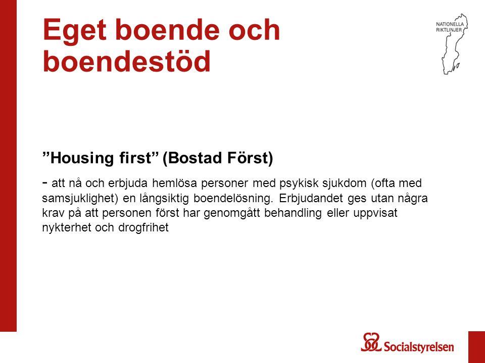 """Eget boende och boendestöd """"Housing first"""" (Bostad Först) - att nå och erbjuda hemlösa personer med psykisk sjukdom (ofta med samsjuklighet) en långsi"""