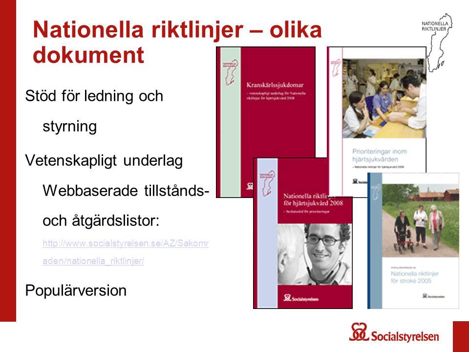 Nationella riktlinjer – olika dokument Stöd för ledning och styrning Vetenskapligt underlag Webbaserade tillstånds- och åtgärdslistor: http://www.soci