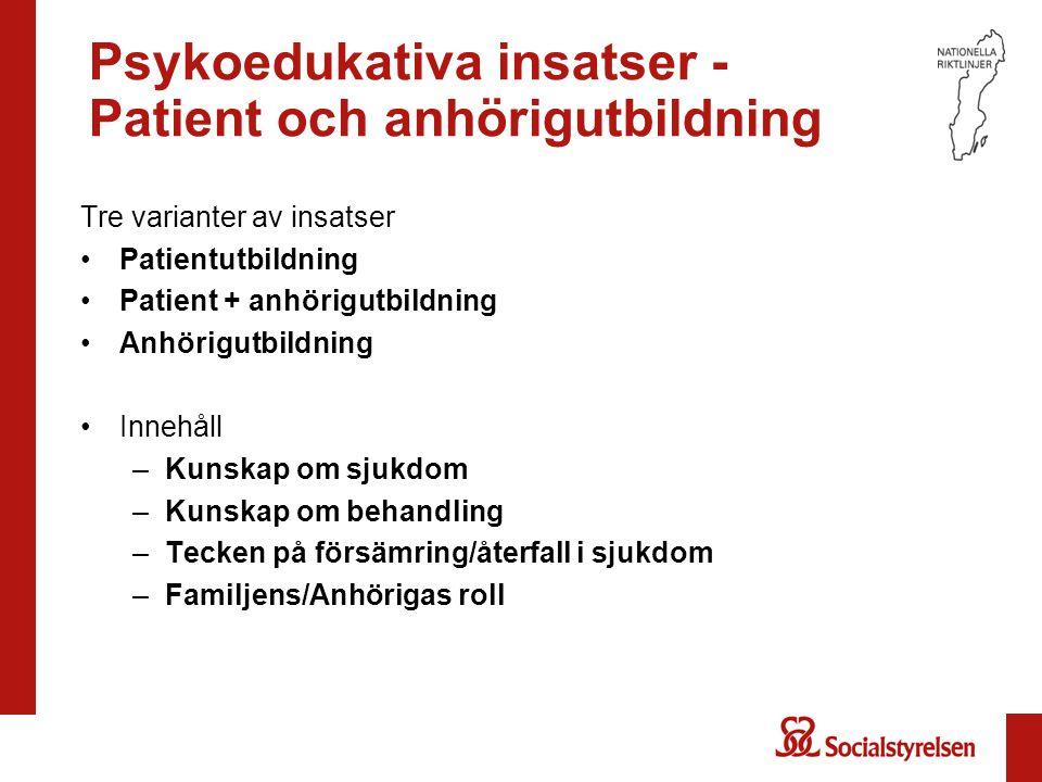 Psykoedukativa insatser - Patient och anhörigutbildning Tre varianter av insatser Patientutbildning Patient + anhörigutbildning Anhörigutbildning Inne
