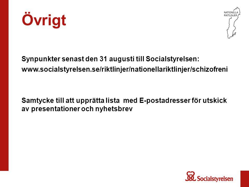 Övrigt Synpunkter senast den 31 augusti till Socialstyrelsen: www.socialstyrelsen.se/riktlinjer/nationellariktlinjer/schizofreni Samtycke till att upp