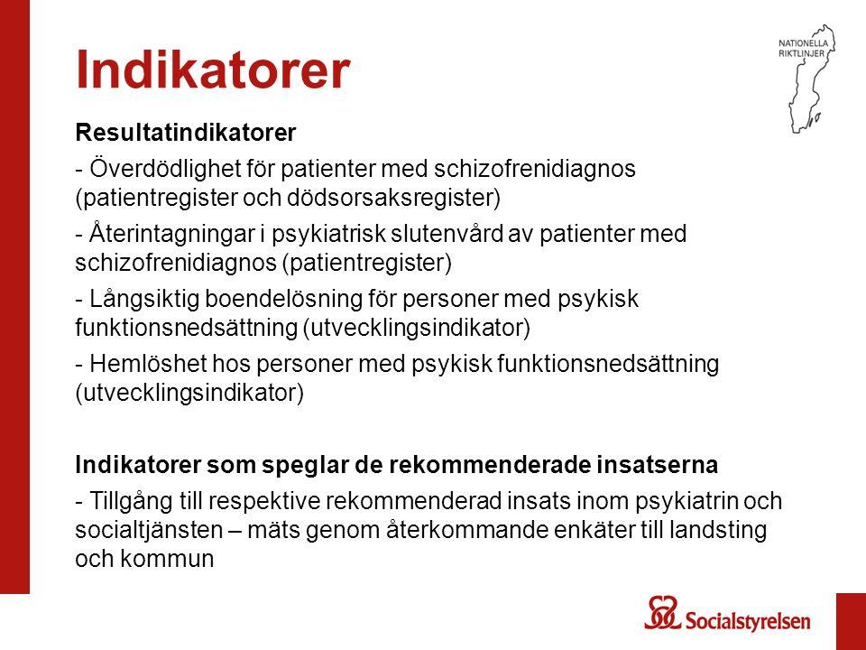 Indikatorer Resultatindikatorer - Överdödlighet för patienter med schizofrenidiagnos (patientregister och dödsorsaksregister) - Återintagningar i psyk