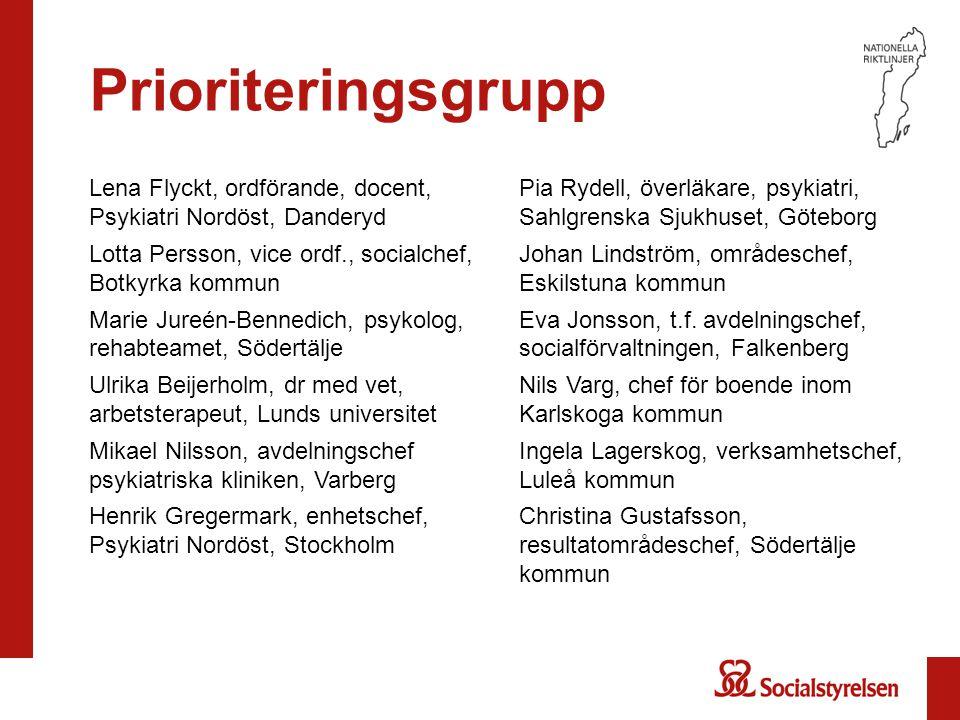 Prioriteringsgrupp Lena Flyckt, ordförande, docent, Psykiatri Nordöst, Danderyd Lotta Persson, vice ordf., socialchef, Botkyrka kommun Marie Jureén-Be