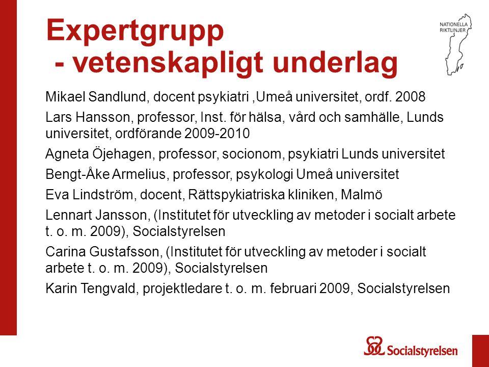 Expertgrupp - vetenskapligt underlag Mikael Sandlund, docent psykiatri,Umeå universitet, ordf. 2008 Lars Hansson, professor, Inst. för hälsa, vård och