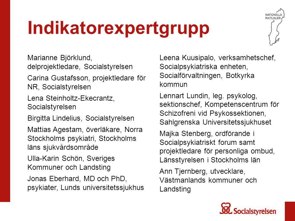 Indikatorexpertgrupp Marianne Björklund, delprojektledare, Socialstyrelsen Carina Gustafsson, projektledare för NR, Socialstyrelsen Lena Steinholtz-Ek