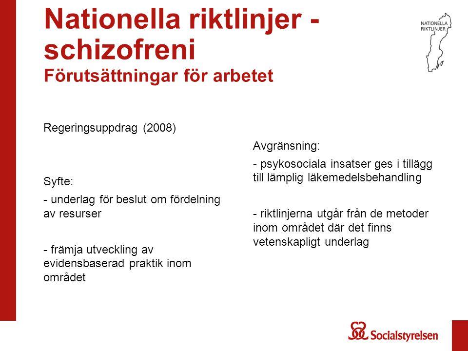 Nationella riktlinjer - schizofreni Förutsättningar för arbetet Regeringsuppdrag (2008) Syfte: - underlag för beslut om fördelning av resurser - främj