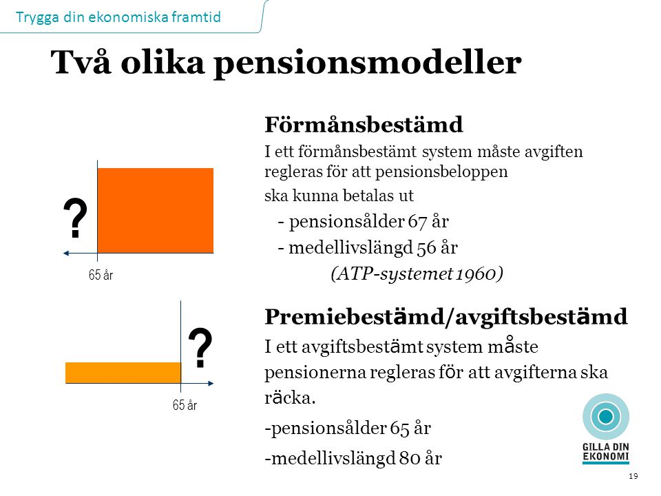 Trygga din ekonomiska framtid 19 Två olika pensionsmodeller Förmånsbestämd I ett förmånsbestämt system måste avgiften regleras för att pensionsbeloppe