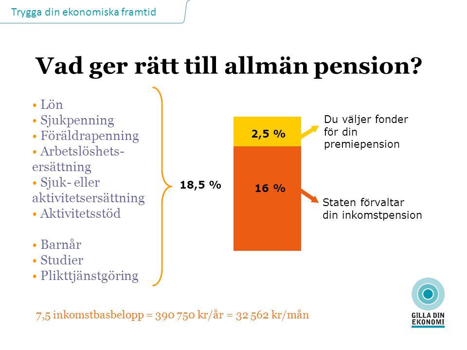 Trygga din ekonomiska framtid Vad ger rätt till allmän pension? Lön Sjukpenning Föräldrapenning Arbetslöshets- ersättning Sjuk- eller aktivitetsersätt