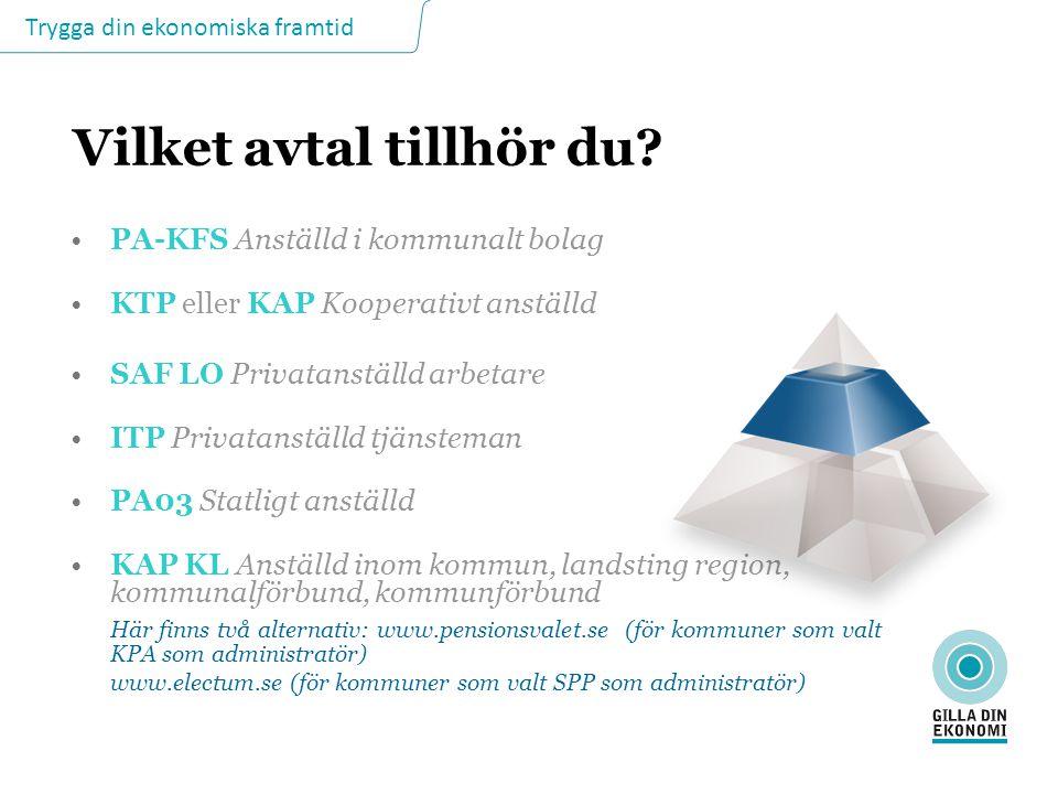 Trygga din ekonomiska framtid Vilket avtal tillhör du? PA-KFS Anställd i kommunalt bolag KTP eller KAP Kooperativt anställd SAF LO Privatanställd arbe