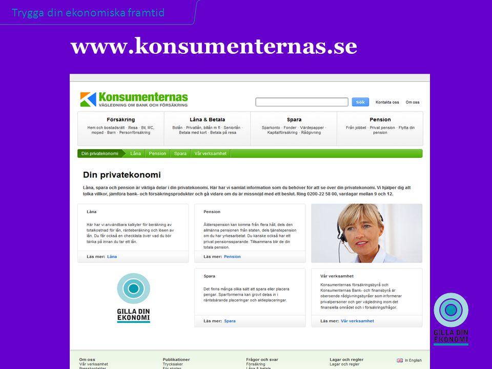 Trygga din ekonomiska framtid www.konsumenternas.se